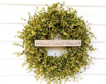 Farmhouse Decor-Door Sign-Fall Wreath-Greenery Wreath-Spring Wreath-Outdoor Wreath-Farmhouse Door Wreath-Summer Wreath-Housewarming Gift