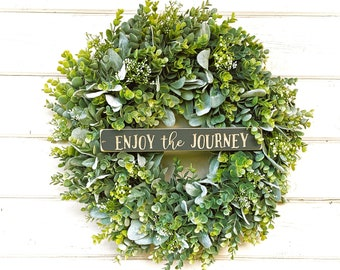 Farmhouse Decor-Lambs Ear Wreath-Wedding Wreath-Enjoy the Journey-EUCALYPTUS & LAMBS EAR Wreath-Spring Wreath-Door Sign-Door Wreaths