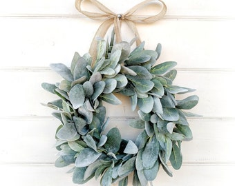 MINI Lambs Ear Wreath-Small Wreath-Lambs Ear Wreath-Window Wreath-Small Wreath-Country Cottage Wreath-Wall Hanging-Greenery Wreath-Gifts