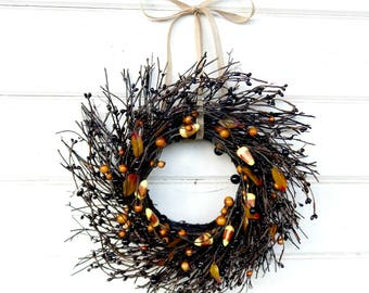 Halloween Wreath-Fall Wreath-Mini Wreath-Black Wreath-MINI Twig Wreath-Candy Corn Mini Window Wreath-Wreaths-Fall Decor-Wall Decor-Gifts