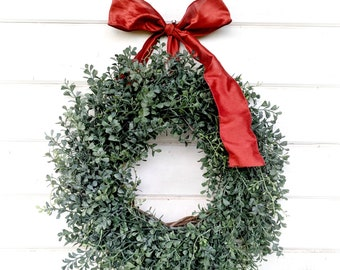 Fall Wreath-Farmhouse Wreath-Blue Boxwood Wreath-Autumn Door Wreath-Summer Door Wreaths-Outdoor Wreath-Year Round Wreath-Housewarming Gift