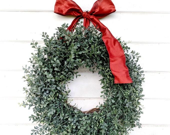 Featured listing image: Fall Wreath-Farmhouse Wreath-Blue Boxwood Wreath-Autumn Door Wreath-Summer Door Wreaths-Outdoor Wreath-Year Round Wreath-Housewarming Gift