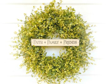 Christmas Gift-Greenery Wreath-Front Door Wreath-Housewarming Gift-Farmhouse Decor-Door Sign-Spring Wreath-Outdoor Wreath-Farmhouse Wreath