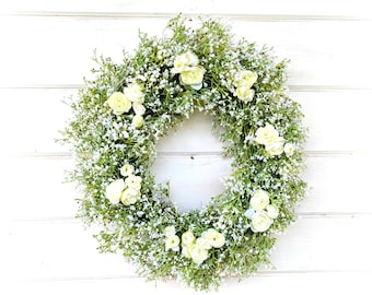 Baby's Breath Wreath-Wedding Decor-Ranunculus-Weddings-Gypsophila-Cottage Decor-Vintage Farmhouse Wreath-Wedding Wreath-White Wedding Wreath