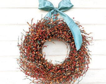 Fall Wreath-Fall Decor-Door Wreaths-Rustic Farmhouse Decor-Orange & Teal Wreath-Front Door Decor-Rustic Home Decor-Thanksgiving Wreath-Gifts