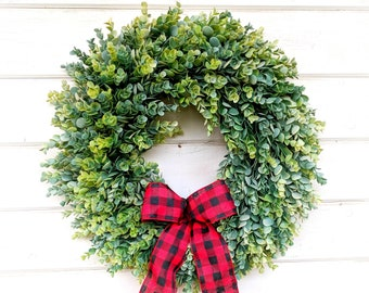Christmas Wreath-Rustic Farmhouse Decor-Farmhouse Christmas-Frosted EUCALYPTUS Wreath-Winter Wreath-Wreaths-Holiday Wreath-Holiday Decor