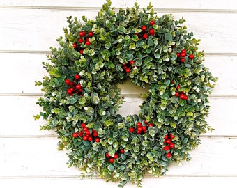 Christmas Wreath-Christmas Decor-Farmhouse Decor-Farmhouse Wreath-EUCALYPTUS Wreath-Holiday Wreath-Home Decor-Christmas GiftOutdoor Wreath