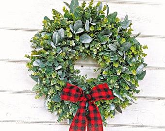 Farmhouse Christmas Wreath-Farmhouse Decor-Christmas Wreath-Frosted EUCALYPTUS & LAMBS EAR Wreath-Winter Wreath-Wreaths-Holiday Wreath-Gift
