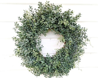 Spring Wreath-Farmhouse Wreath-Blue Boxwood Wreath-Winter Door Wreath-Summer Door Wreaths-Outdoor Wreath-Year Round Wreath-Housewarming Gift