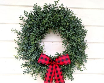 Christmas Wreath-Farmhouse Christmas-Blue Boxwood Wreath-Winter Door Wreath-Wreaths-Outdoor Wreath-