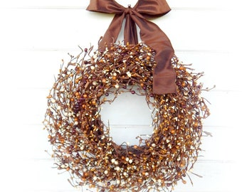 Fall Wreath-Fall Decor-Brown Wreath-Rustic Home Decor-Rustic Farmhouse Wreath-Autumn Wreaths-Front Door Decor-Thanksgiving Wreath-Gifts