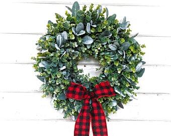 Christmas Wreath-Rustic Farmhouse Decor-Farmhouse Christmas-Frosted EUCALYPTUS & Lambs Ear Wreath-Winter Wreath-Wreaths-Holiday Wreath-Gift