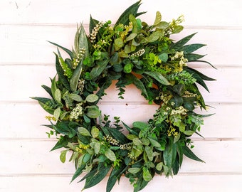 Farmhouse Wreath-California Eucalyptus-Greenery Wreath-Outdoor Wreath-Farmhouse Decor-Housewarming Gift-Front Door Wreath-Home Decor-Wreath