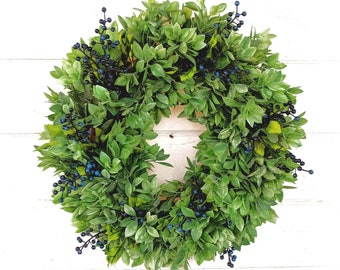 Farmhouse Wreath-Greenery Wreath-LEMON LEAF & HUCKLEBERRIES-Farmhouse Decor-Spring Wreath-Summer Wreath-Scented Wreath-Housewarming Gift