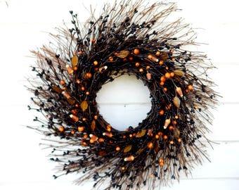 Halloween Wreath-Fall Wreath-Fall Door Decor-Candy Corn Wreath-Black Wreath-Halloween Decor-Fall Twig Wreath-Rustic Wreath-Fall Home Decor