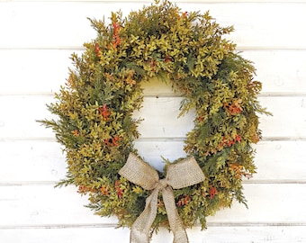 Thanksgiving Wreath-Fall Farmhouse Wreath-Fall Door Wreath-Boxwood Wreath-Thanksgiving Wreath-Fall Farmhouse Decor-Outdoor Wreath-Gifts