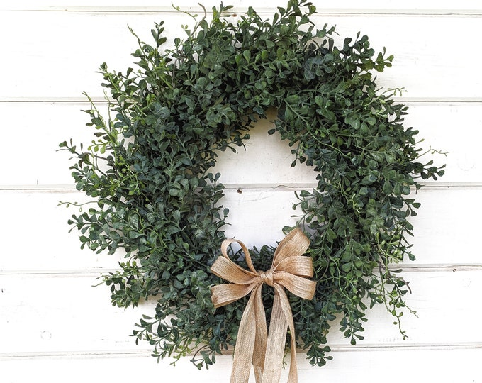 Featured listing image: Summer Wreath-Farmhouse Wreath-BLUE Boxwood Wreath-Winter Door Wreath-Greenery Wreath-Outdoor Wreath-Year Round Wreath-Housewarming Gift