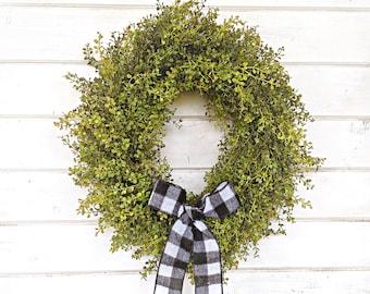 Fall Wreath-Farmhouse Wreath-Baby Eucalyptus Wreath-Fall Door Wreath-Fall Farmhouse Decor-Outdoor Wreath-Year Round Wreath-Housewarming Gift