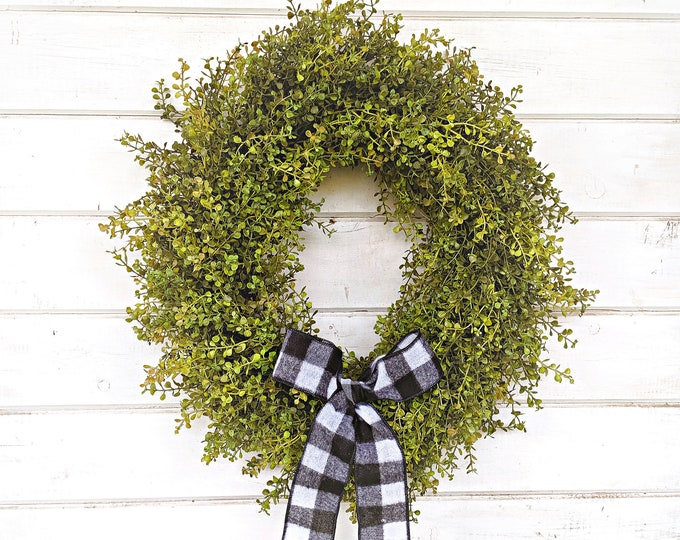 Featured listing image: Fall Wreath-Farmhouse Wreath-Baby Eucalyptus Wreath-Fall Door Wreath-Fall Farmhouse Decor-Outdoor Wreath-Year Round Wreath-Housewarming Gift