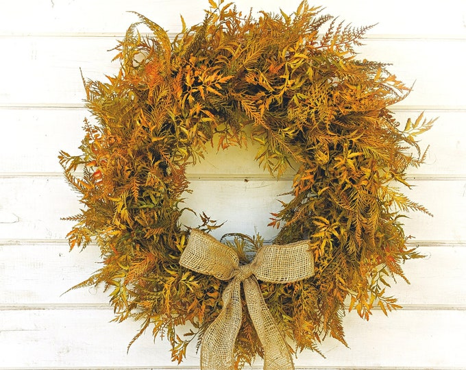 Featured listing image: Fall Wreath-Fall Decor-Farmhouse Wreath-FERN Wreath-Fall Door Decor-Thanksgiving Wreath-Outdoor Wreath-Autumn Wreath-Front Door Wreath-Gifts
