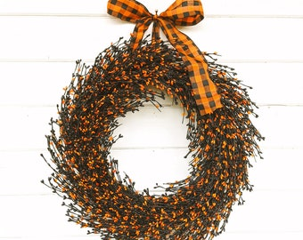 Fall Wreath-Halloween Wreath- Fall Home Decor-Halloween Decor-Farmhouse Wreath-Orange & Black Wreath-Autumn Home Decor-Fall Door Wreath-Gift