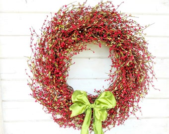 Winter Wreath-Christmas Wreath-Holiday Wreath-Christmas Door Wreath-RED Berry Wreath-Rustic Farmhouse Christmas-Holiday Home Decor-Gifts