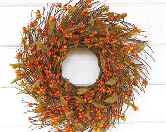 Farmhouse Decor-Fall Wreath-Farmhouse Wreath-Orange Wreath-Twig Wreath-ORANGE Bittersweet Wreath-Fall Home Decor-Rustic Decor-Housewarming