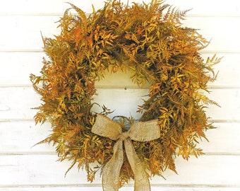 Fall Wreath-Fall Decor-Farmhouse Wreath-FERN Wreath-Fall Door Decor-Thanksgiving Wreath-Outdoor Wreath-Autumn Wreath-Front Door Wreath-Gifts