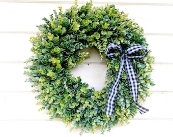 Farmhouse-Frosted EUCALYPTUS Wreath-Fall Wreath-Winter Wreath-Door Sign-Wreaths-Farmhouse Decor-Housewarming