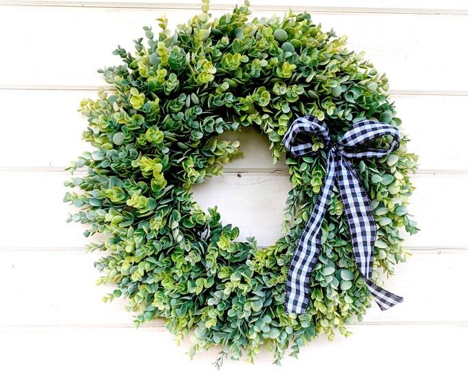 Featured listing image: Farmhouse Wreath-Farmhouse Decor-Frosted EUCALYPTUS Wreath-Fall Wreath-Winter Wreath-Greenery Wreath-Home Decor-Door Wreath-HousewarmingGift