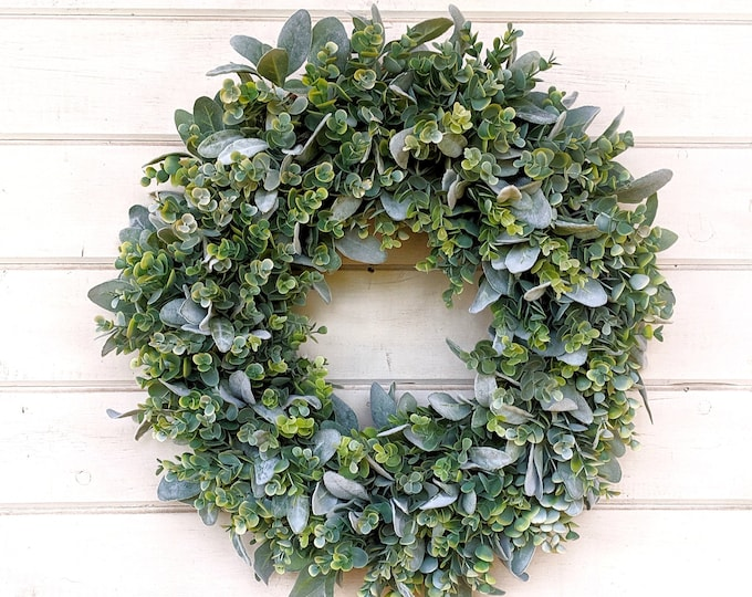 Featured listing image: Farmhouse Wreath-Lambs Ear & Frosted Eucalyptus-Door Wreath-Summer Wreath-Farmhouse Decor-Greenery Wreath-Wedding Decor-Weddings-Gifts