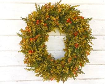Fall Farmhouse Wreath-Fall Decor-Fall Door Wreath-Boxwood Wreath-NEW for 2019-Greenery Wreath-Farmhouse Decor-Fall Decor-Outdoor Wreath-Gift