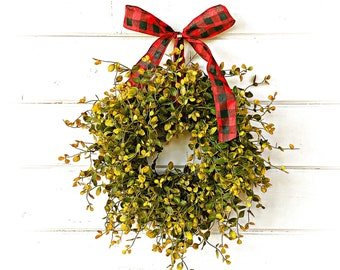 Christmas Wreath-MINI Window Wreath-Greenery Wreath-Farmhouse Wreath-Small Wreath-Bog Pimpernel-Farmhouse Decor-Wall Decor-Wreaths-Gifts