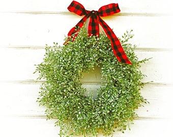 Mini Wreath-Christmas Wreath-Farmhouse Decor-LUNA-Farmhouse Wreath-Holiday Decor-Window Wreath-Greenery Wreath-Holiday Wreath-Small Wreath