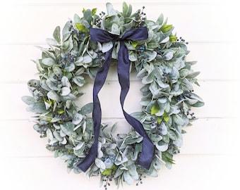 Lambs Ear Wreath-Farmhouse Wreath-LAMBS EAR & HUCKLEBERRY Wreath-Farmhouse Décor-Summer Wreath-Housewarming Gift-Greenery Wreath-Gifts