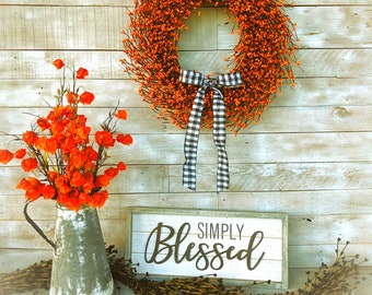 Thanksgiving Wreath-Halloween Decor-Fall Home Decor-Buffalo Check-Orange Wreath-Farmhouse Wreath-Fall Farmhouse Decor-Thanksgiving Decor