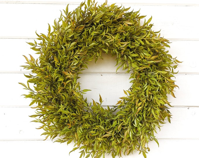 Featured listing image: Fall Wreath-Farmhouse Wreath-Fall Door Wreath-Greenery Wreath-Farmhouse Decor-Fall Decor-Autumn Decor-Outdoor Wreath-Door-Housewarming Gift