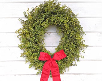 Farmhouse Wreath-Farmhouse Decor-Christmas Wreath-Baby Eucalyptus Wreath-Outdoor Wreath-Door Wreath-Housewarming Gift