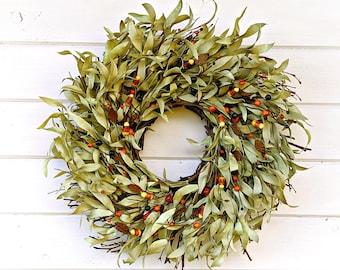 Fall Wreath-Fall Farmhouse Wreath-TWIG Door Wreath-Rustic Farmhouse Decor-Halloween Decor-Fall Home Decor-Candy Corn Wreath-Holiday Wreath