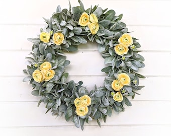 Farmhouse Wreath-Lambs Ear Wreath- Ranunculus Wreath-Modern Farmhouse Décor-Summer Weddings-Yellow Wreath-Housewarming Gift-Greenery Wreath
