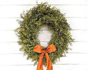 Fall Wreath-Fall Farmhouse Decor-Thanksgiving Wreath-Baby Eucalyptus Wreath-Farmhouse Wreath-Outdoor Wreath-Door Wreath-Housewarming Gift