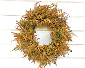 Thanksgiving Wreath-Fall Wreath-Fall Fern-Greenery Wreath-Door Wreath-Farmhouse Wreath-Fall Home Decor-Autumn Decor-Front Door Wreath