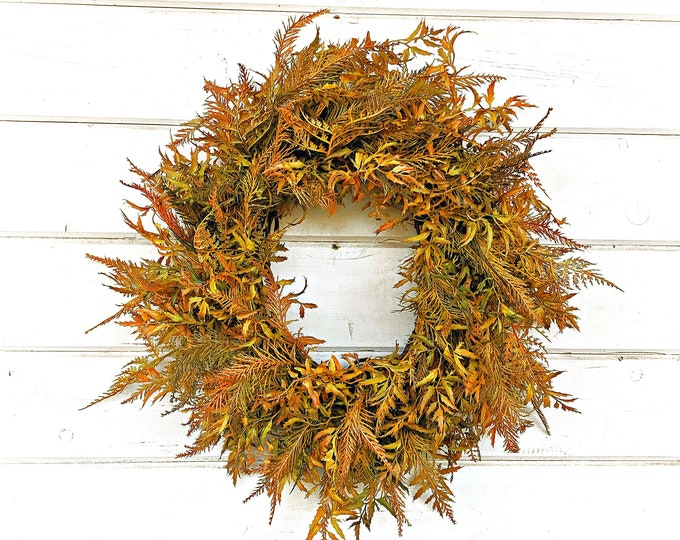 Featured listing image: Fall Wreath-Fall Fern-Greenery Wreath-Thanksgiving Door Wreath-Farmhouse Wreath-Fall Home Decor-Autumn Decor-Front Door Wreath