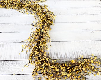 Yellow Berry Garland, Modern Farmhouse Décor-Table Runner-Wedding Decor-Garland for Kitchen Cabinets-Fireplace Mantel Décor-Spring Décor