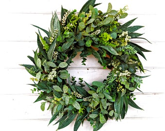 Spring Wreath-Summer Wreath-Farmhouse Wreath-California Eucalyptus-Greenery Wreath-Outdoor Wreath-Farmhouse Decor-Housewarming Gift-Wreaths