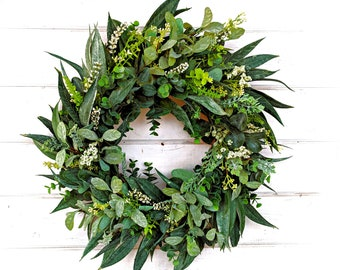Greenery Wreath-Spring Wreath-Summer Wreath-Farmhouse Wreath-California Eucalyptus-Outdoor Wreath-Farmhouse Decor-Housewarming Gift-Wreaths