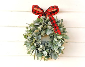 Small Window Wreath-Christmas Wreath-MINI Lambs Ear Wreath-Lambs Ear Wreath-Window Wreath-Small Wreath-Farmhouse Decor-Greenery Wreath-Gifts