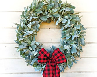 Christmas Wreath-Farmhouse Wreath-Lambs Ear Wreath-Wreaths-Farmhouse Decor-Housewarming Gift-Greenery Wreath-Door Wreath-Home Decor-Wreath