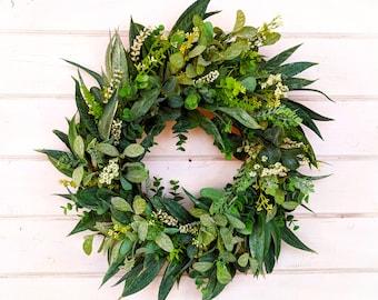 Spring Wreath-Summer Wreath-Farmhouse Wreath-California Eucalyptus-Greenery Wreath-Outdoor Wreath-Farmhouse Decor-Housewarming Gift-Wreaths