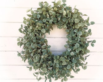 Spring Wreath-Farmhouse Wreath-Spring Door Wreath-GREEN PENNY LEAF Wreath-Modern Farmhouse Decor'-Housewarming Gift-Front Door Wreath-Gifts